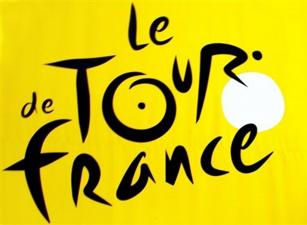 ** FILE ** View of the Tour de France cycling race's official logo logo, photographed on the Tour de France registration podium, prior to the 4th stage of the 93rd Tour de France cycling race between Huy, Belgium, and Saint-Quentin, northern France, in this July 5, 2006 file photo. The 94th Tour de France cycling race starts Saturday,July 7, 2007 from London, Britain, running to Sunday, July 29th, 2007, made up of a prologue and 20 stages, covering a total distance of 3.550 kilometers (2206.33 miles). (AP Photo/Alessandro Trovati, file)